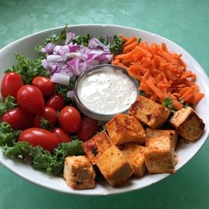 Kale Salad Bowl with Buffalo Tofu and Garlic Ranch Dressing