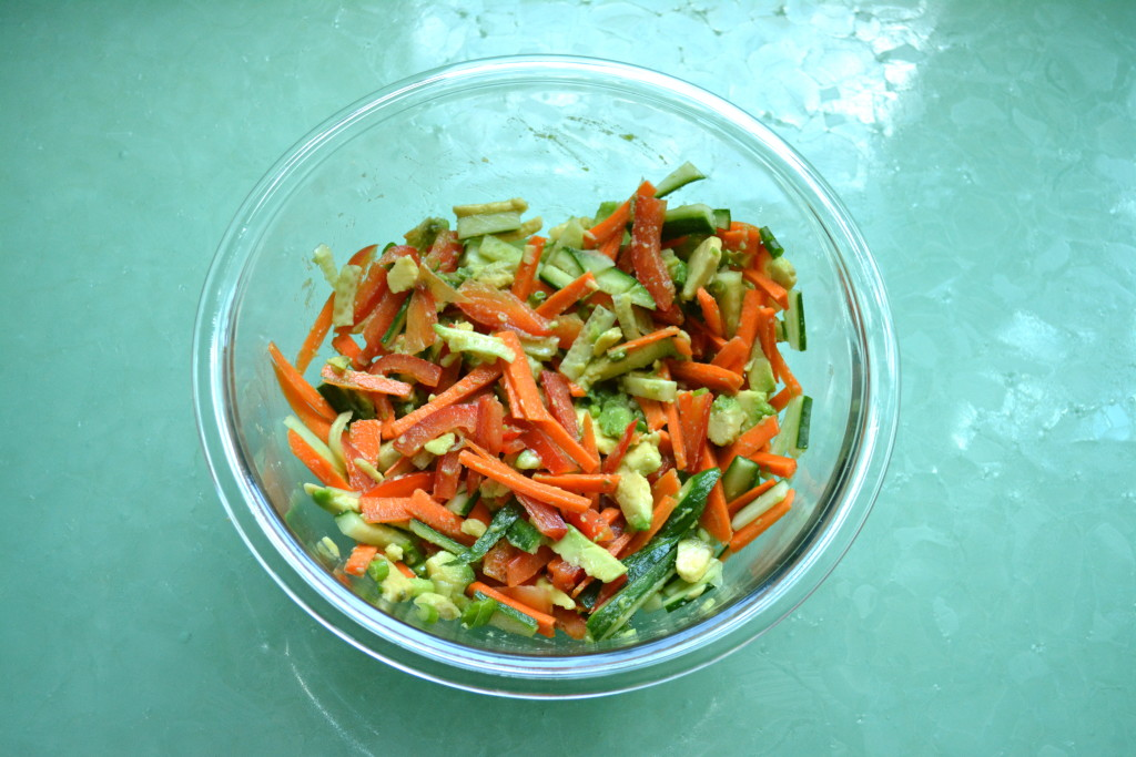 Vegetable filling for vegan spring rolls