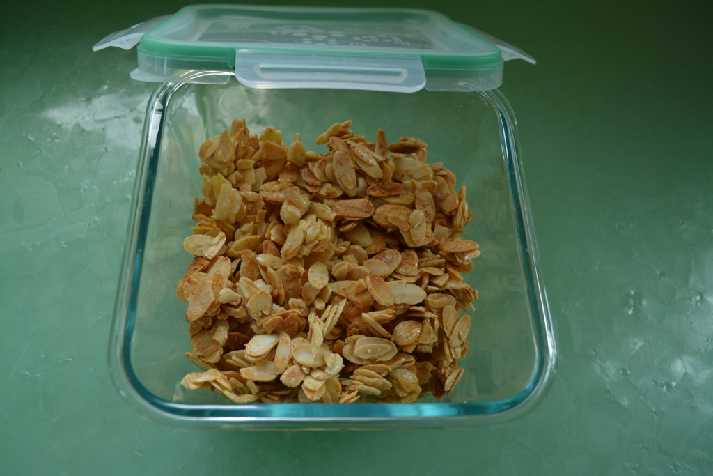 Sweet and Spicy Almonds in airtight container