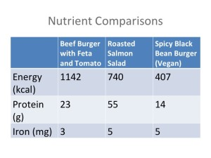 Iron comparison of vegan and standard american meal
