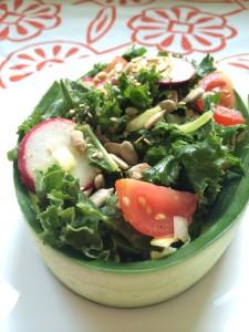 Kale Salad in Cucumber Bowl