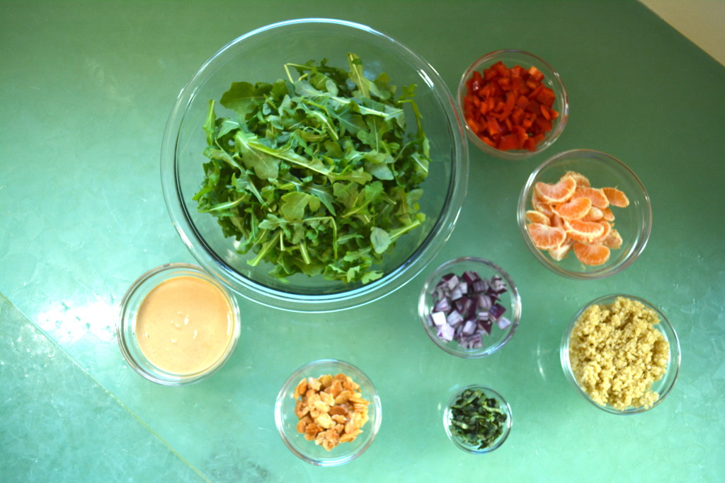 Mise en Place for Spicy Asian Salad: vegan and whole food plant-based