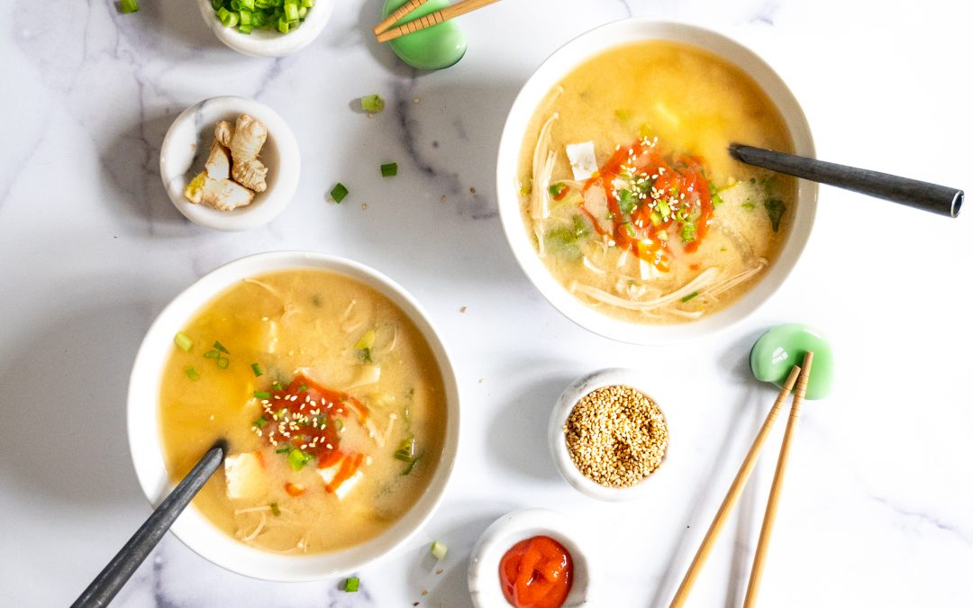 Ginger Miso Soup with Bok Choy and Tofu