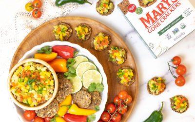 Mango Guacamole with Mary's Gone Crackers Jalapeño Crackers